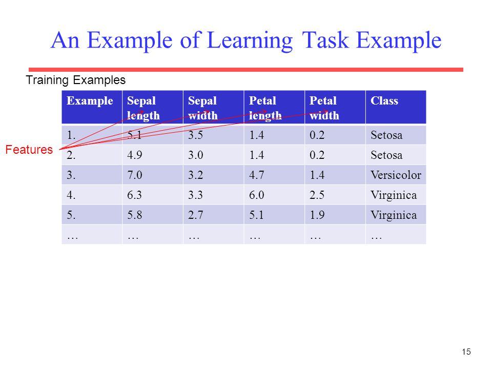 An Example of Learning Task Example 15 ExampleSepal length Sepal width Petal length Petal width Class 1.5.13.51.40.2Setosa 2.4.93.01.40.2Setosa 3.7.03