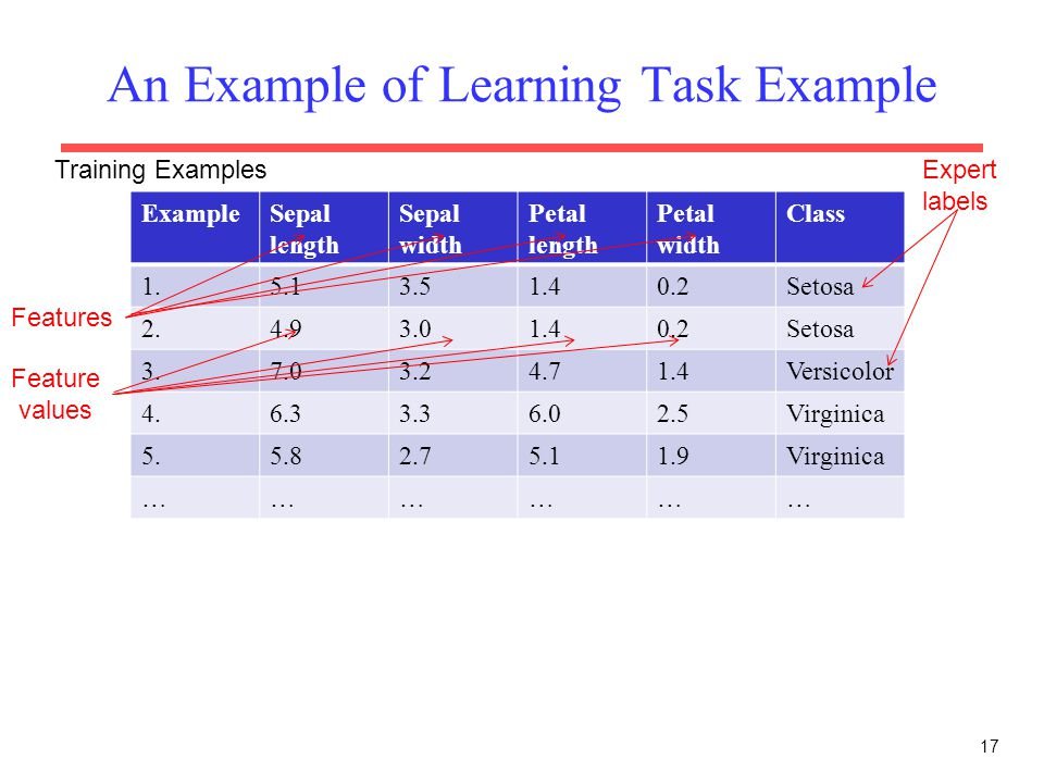 An Example of Learning Task Example 17 ExampleSepal length Sepal width Petal length Petal width Class 1.5.13.51.40.2Setosa 2.4.93.01.40.2Setosa 3.7.03