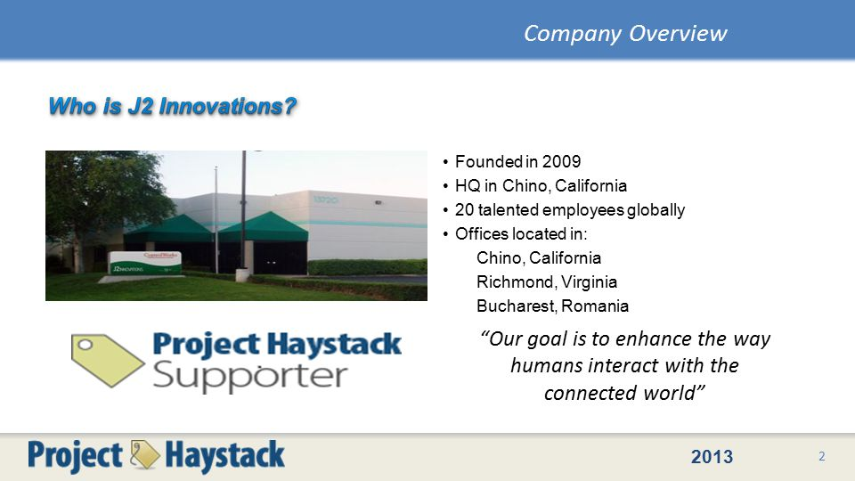 2013 Founded in 2009 HQ in Chino, California 20 talented employees globally Offices located in: Chino, California Richmond, Virginia Bucharest, Romania 2 Company Overview Our goal is to enhance the way humans interact with the connected world