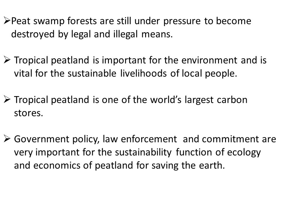  Peat swamp forests are still under pressure to become destroyed by legal and illegal means.