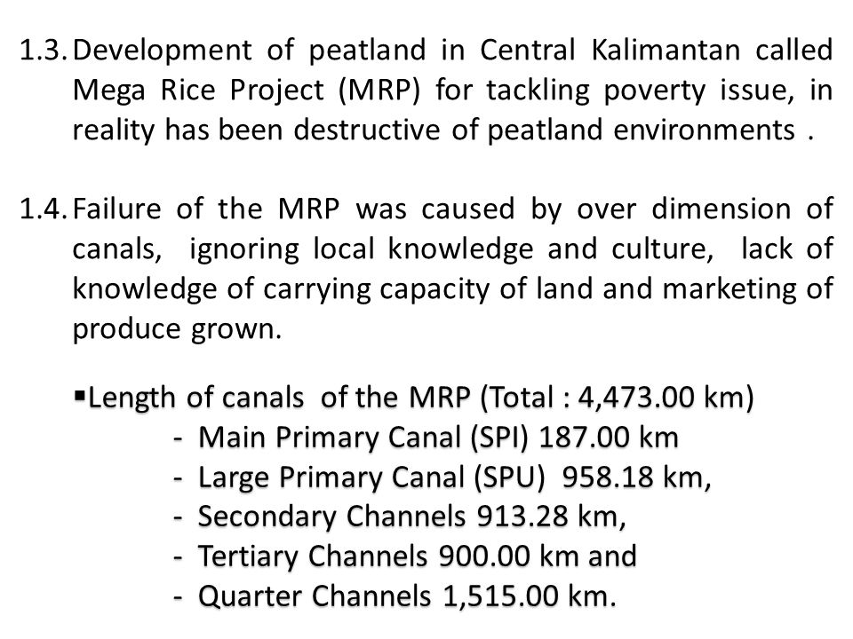1.3.Development of peatland in Central Kalimantan called Mega Rice Project (MRP) for tackling poverty issue, in reality has been destructive of peatla