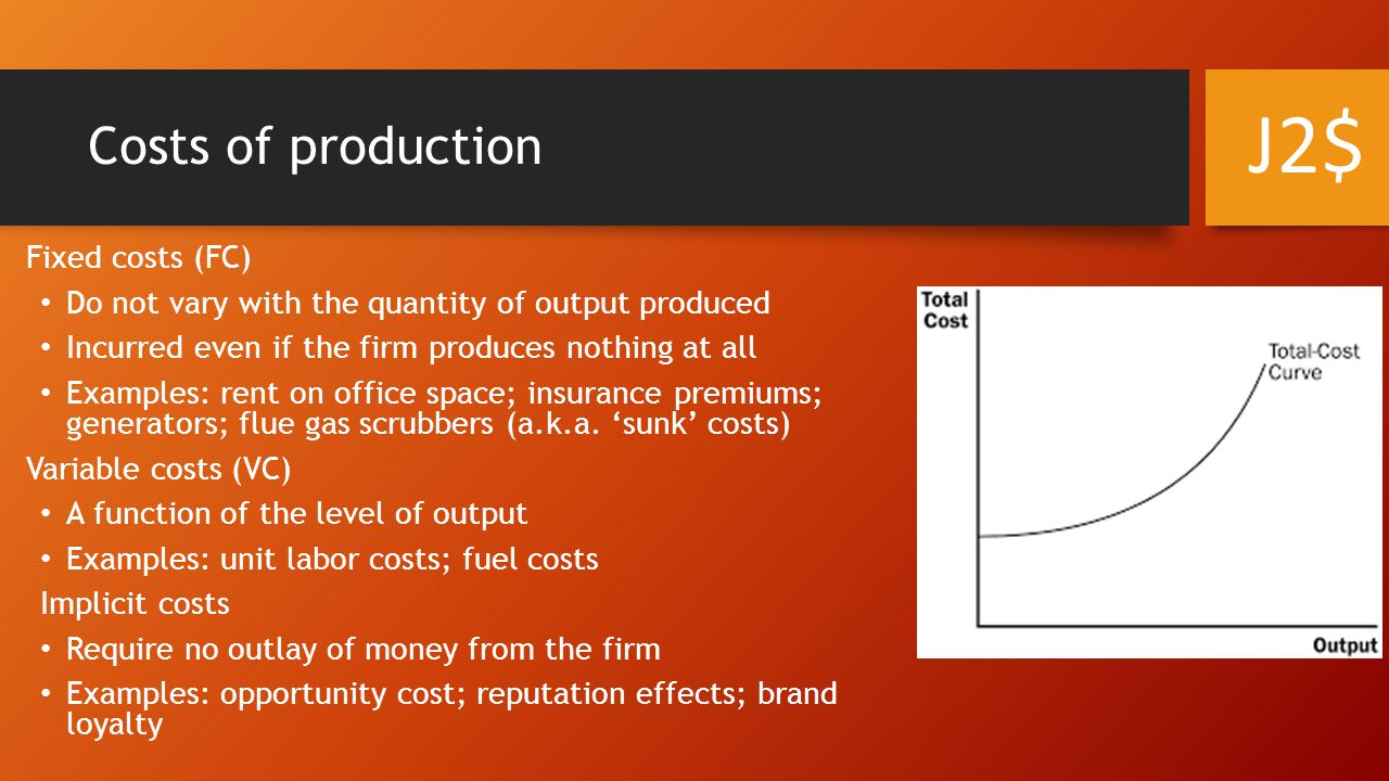 Costs of production Fixed costs (FC) Do not vary with the quantity of output produced Incurred even if the firm produces nothing at all Examples: rent on office space; insurance premiums; generators; flue gas scrubbers (a.k.a.