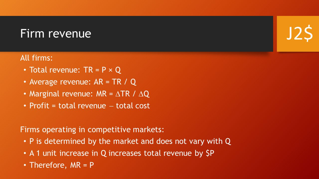 Firm revenue All firms: Total revenue: TR = P × Q Average revenue: AR = TR / Q Marginal revenue: MR =  TR /  Q Profit = total revenue  total cost Firms operating in competitive markets: P is determined by the market and does not vary with Q A 1 unit increase in Q increases total revenue by $P Therefore, MR = P J2$