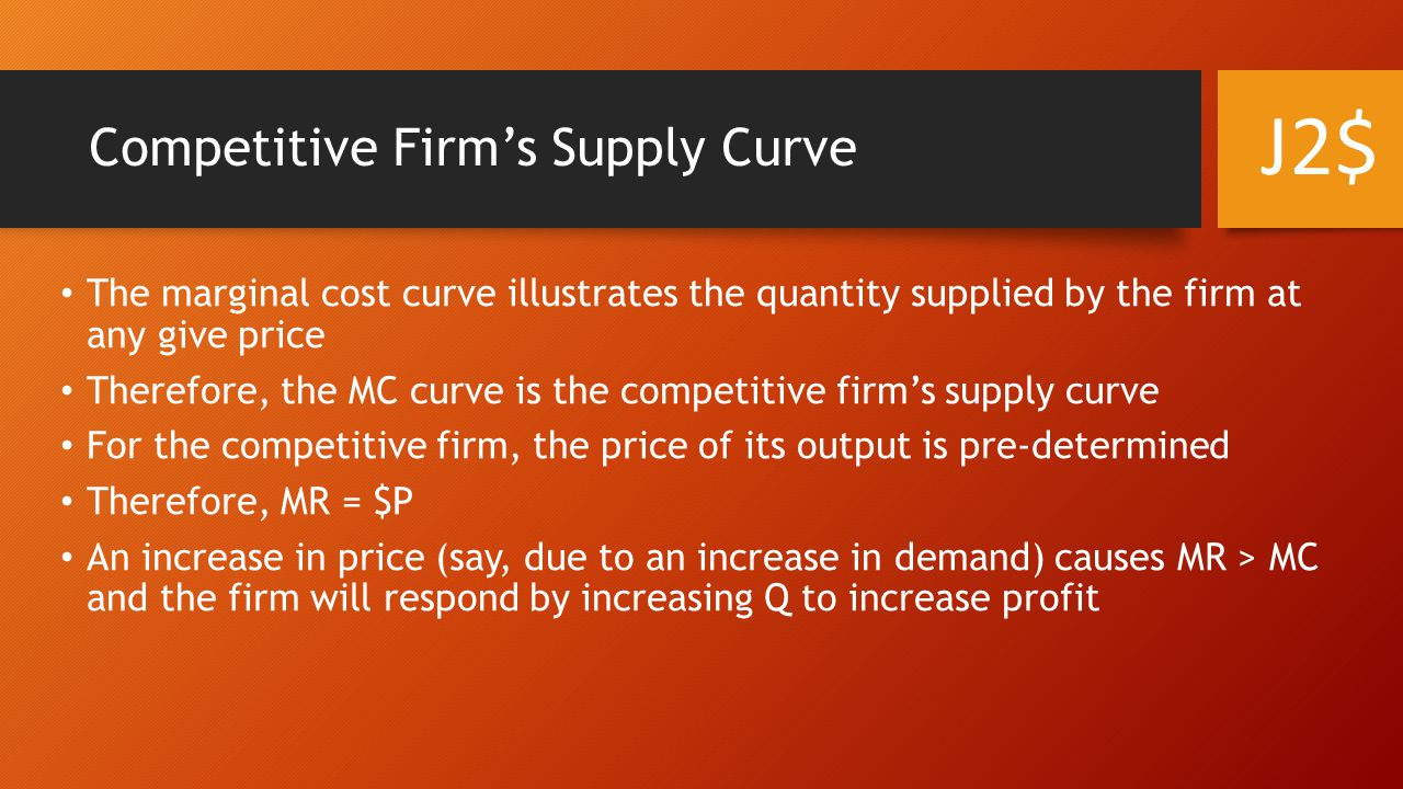 Competitive Firm's Supply Curve The marginal cost curve illustrates the quantity supplied by the firm at any give price Therefore, the MC curve is the competitive firm's supply curve For the competitive firm, the price of its output is pre-determined Therefore, MR = $P An increase in price (say, due to an increase in demand) causes MR > MC and the firm will respond by increasing Q to increase profit J2$