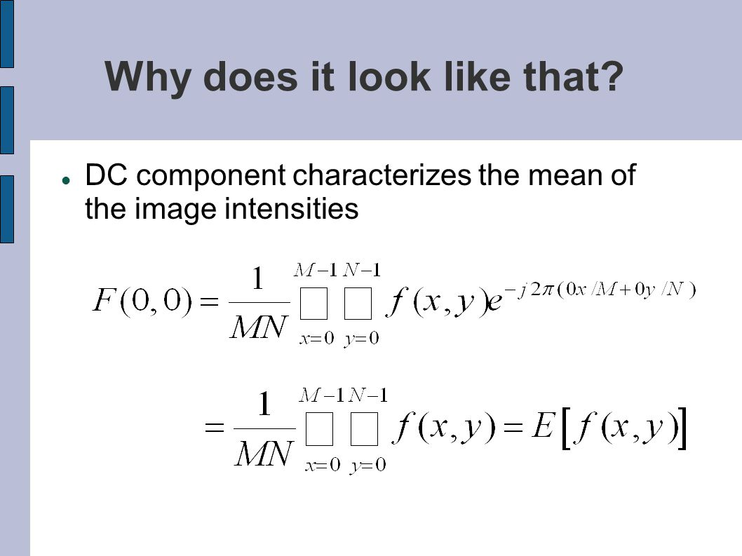 Why does it look like that DC component characterizes the mean of the image intensities