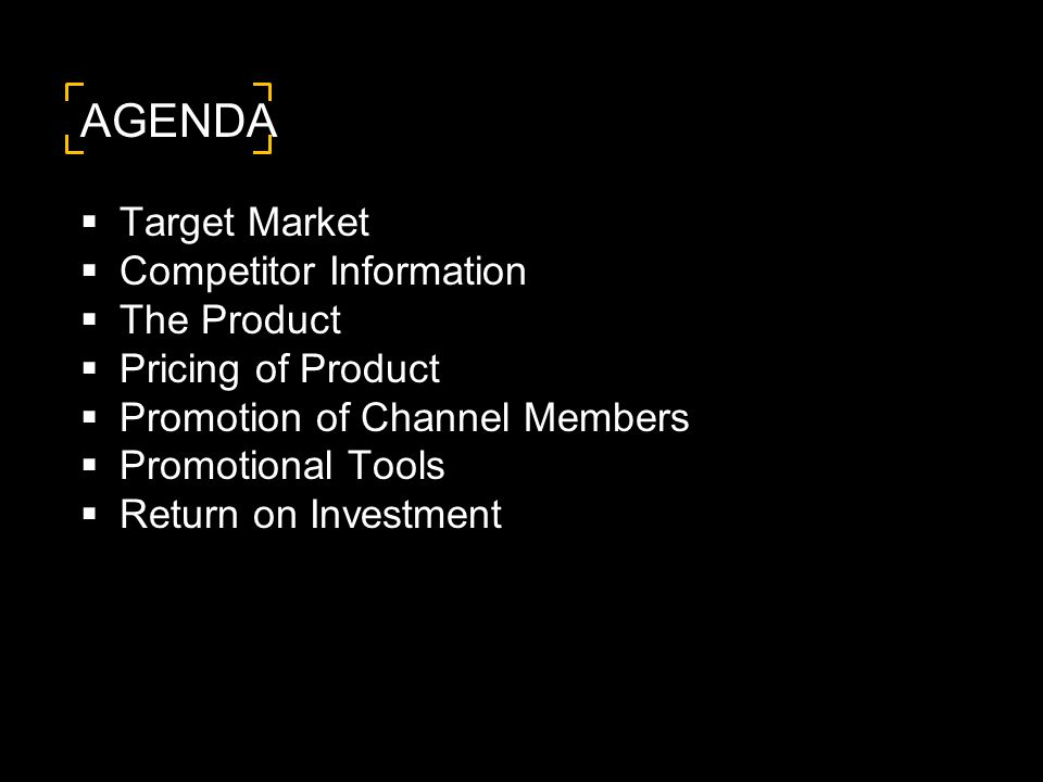 AGENDA  Target Market  Competitor Information  The Product  Pricing of Product  Promotion of Channel Members  Promotional Tools  Return on Investment