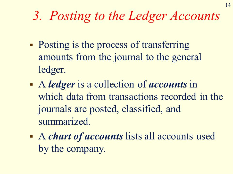 14 3. Posting to the Ledger Accounts  Posting is the process of transferring amounts from the journal to the general ledger.  A ledger is a collecti