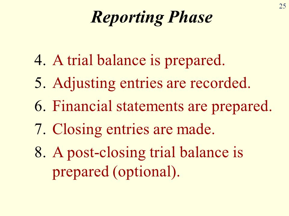 25 Reporting Phase 4.A trial balance is prepared.5.Adjusting entries are recorded.