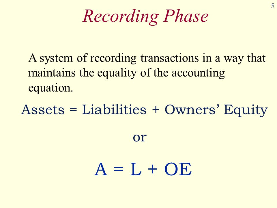 5 Recording Phase A system of recording transactions in a way that maintains the equality of the accounting equation.