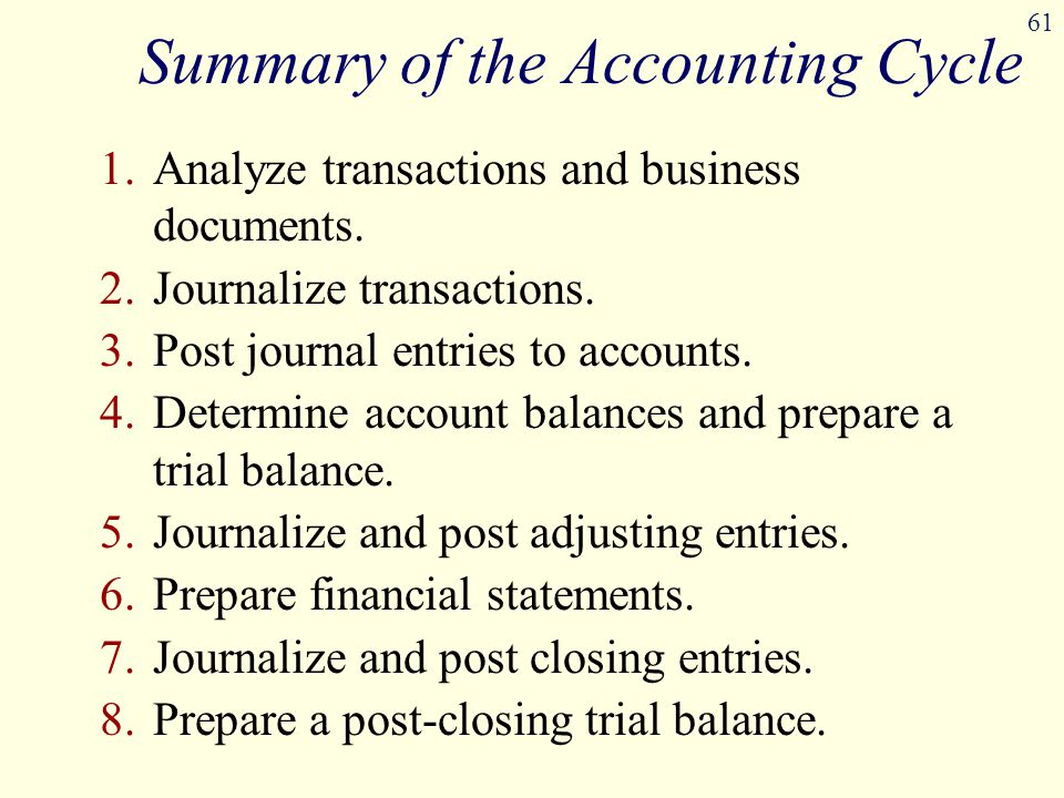 61 Summary of the Accounting Cycle 1.Analyze transactions and business documents. 2.Journalize transactions. 3.Post journal entries to accounts. 4.Det