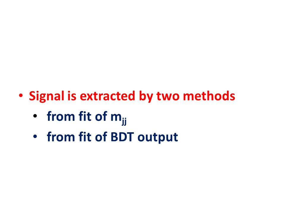 Signal is extracted by two methods from fit of m jj from fit of BDT output