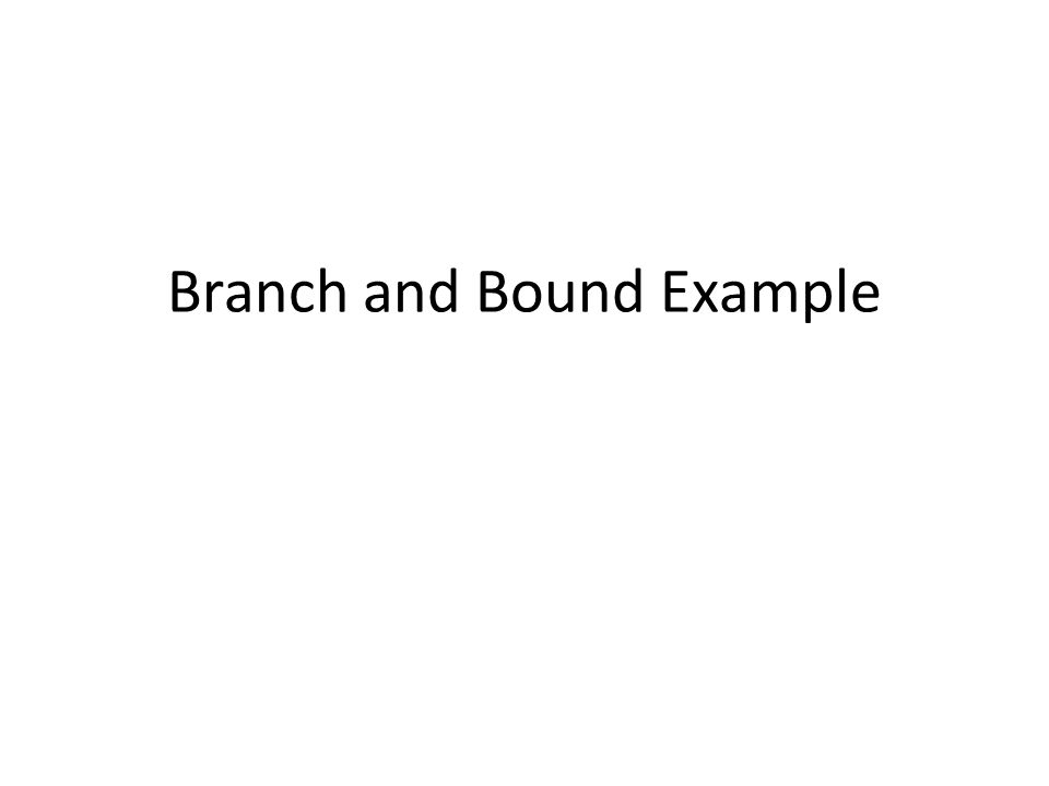 Branch and Bound Example