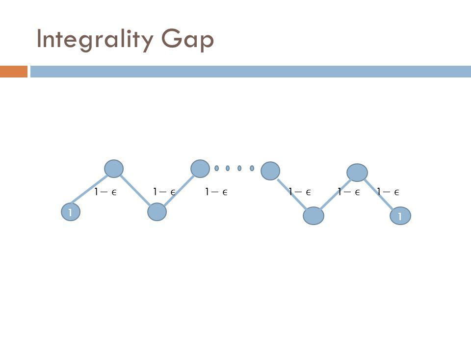 1 1 v`v` Integrality Gap