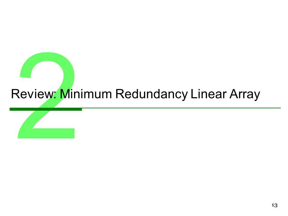 2 Review: Minimum Redundancy Linear Array 13