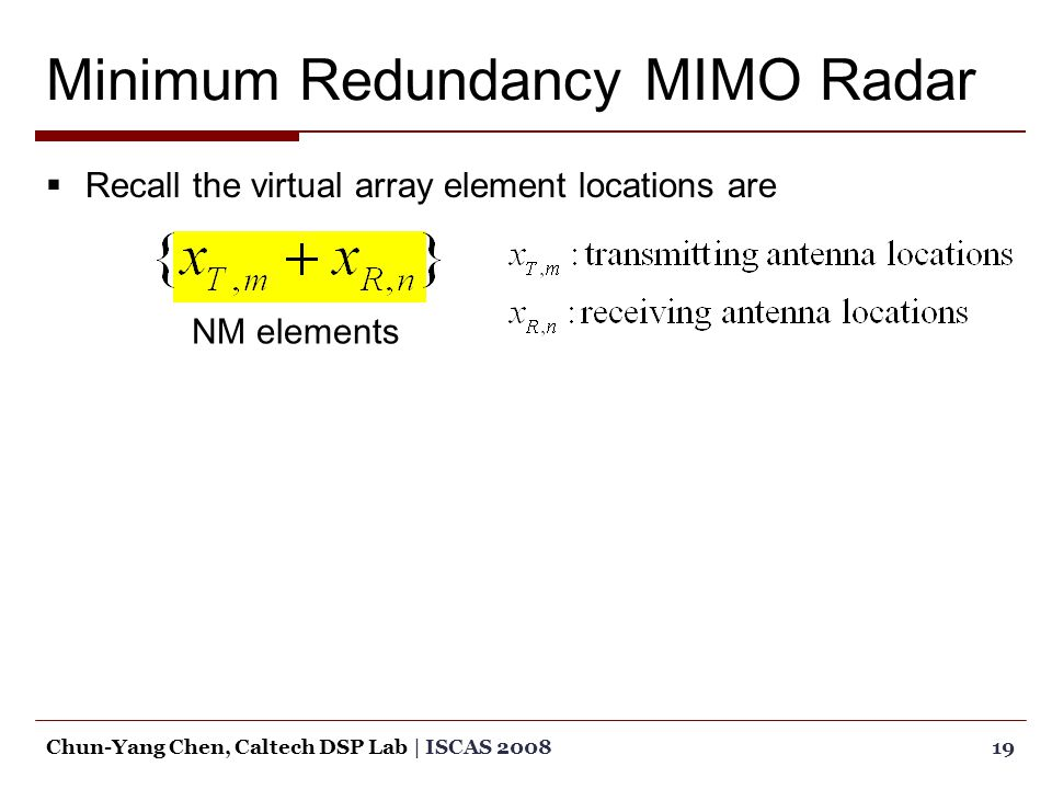  Recall the virtual array element locations are 19Chun-Yang Chen, Caltech DSP Lab | ISCAS 2008 NM elements
