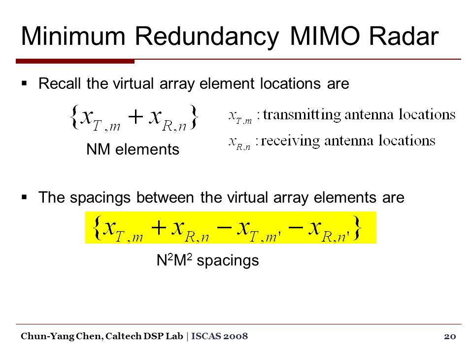 Minimum Redundancy MIMO Radar  Recall the virtual array element locations are  The spacings between the virtual array elements are 20Chun-Yang Chen, Caltech DSP Lab | ISCAS 2008 NM elements N 2 M 2 spacings