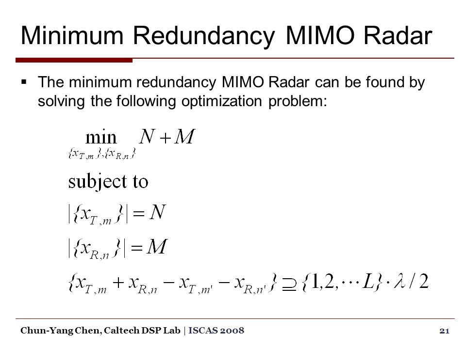 Minimum Redundancy MIMO Radar  The minimum redundancy MIMO Radar can be found by solving the following optimization problem: 21Chun-Yang Chen, Caltech DSP Lab | ISCAS 2008