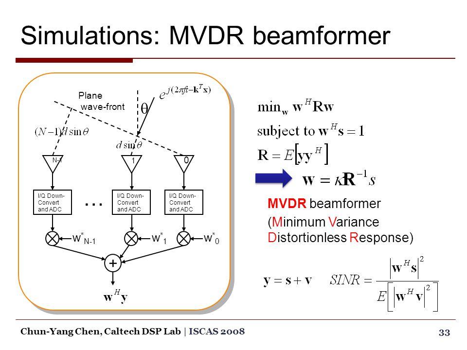 Simulations: MVDR beamformer 33Chun-Yang Chen, Caltech DSP Lab | ISCAS 2008 N-1 I/Q Down- Convert and ADC w * N-1 1 I/Q Down- Convert and ADC w*1w*1 0 w*0w*0 + … Plane wave-front  MVDR beamformer (Minimum Variance Distortionless Response)