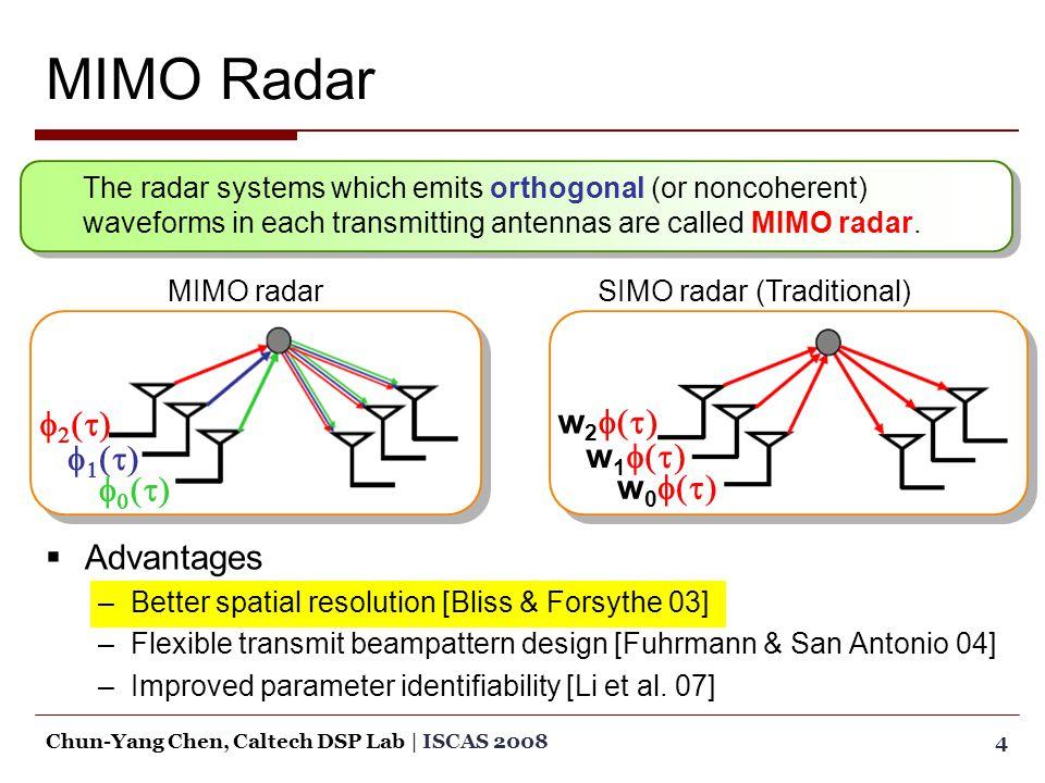 AAdvantages –B–Better spatial resolution [Bliss & Forsythe 03] –F–Flexible transmit beampattern design [Fuhrmann & San Antonio 04] –I–Improved parameter identifiability [Li et al.