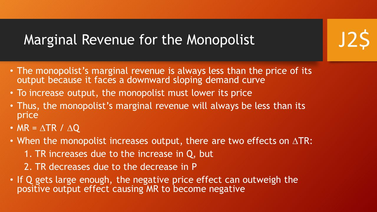 Profit maximization for the monopolist Profit maximization once again occurs at the point where MR = MC But for the monopolist, P > MR J2$