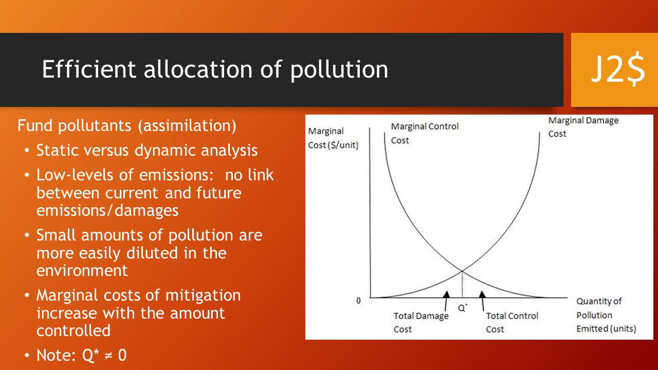 For some pollutants Q* might equal 0 (or close to it) [e.g., plutonium] Upward shift of the marginal damage curve Equivalently for 'environmentally-sensitive' areas Alternatively, low population density areas may see a downward shift of the marginal damage curve and Q* would be larger Efficient allocation of pollution J2$