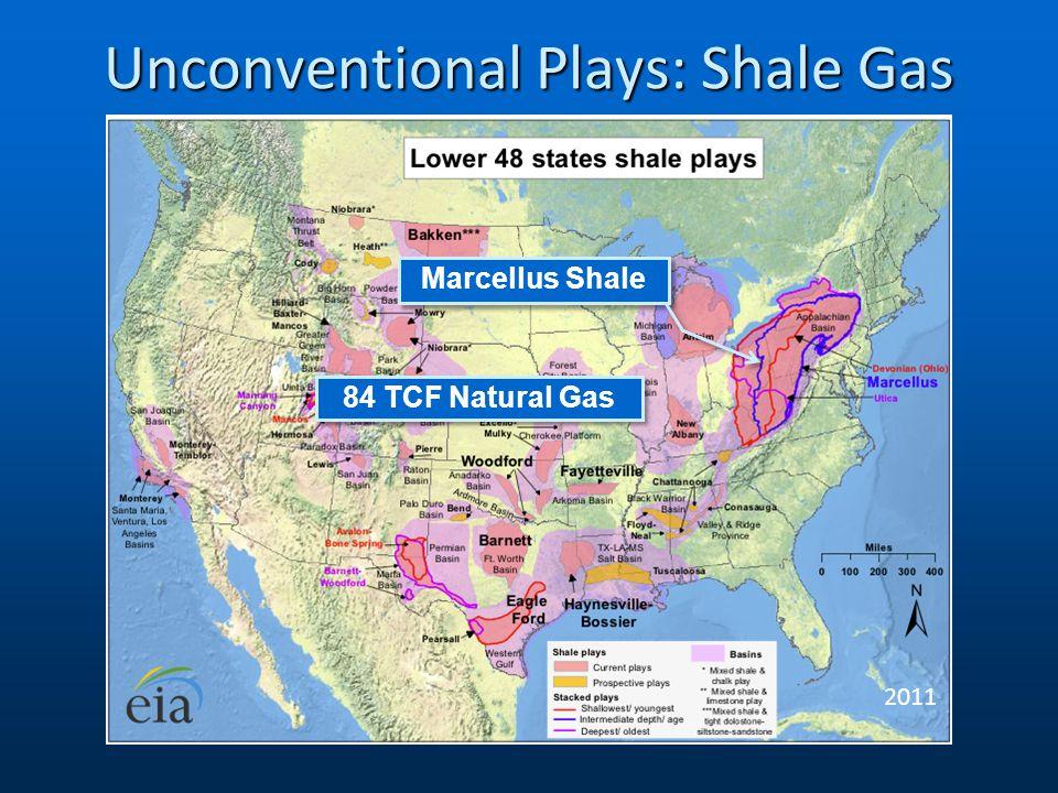 Unconventional Plays: Shale Gas 2011 Marcellus Shale 84 TCF Natural Gas