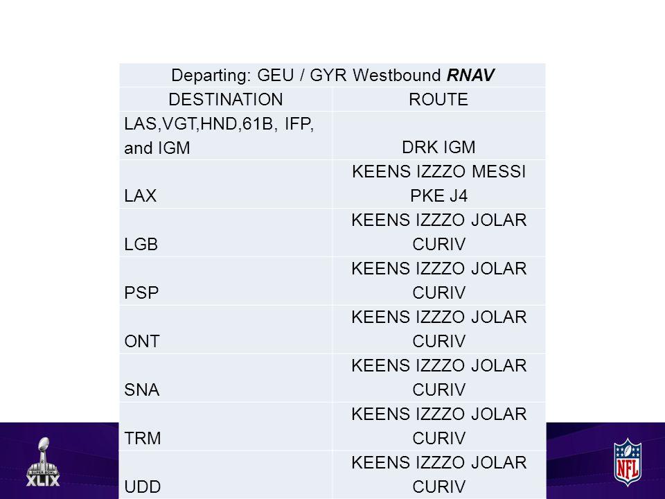 Departing: GEU / GYR Westbound RNAV DESTINATIONROUTE LAS,VGT,HND,61B, IFP, and IGMDRK IGM LAX KEENS IZZZO MESSI PKE J4 LGB KEENS IZZZO JOLAR CURIV PSP