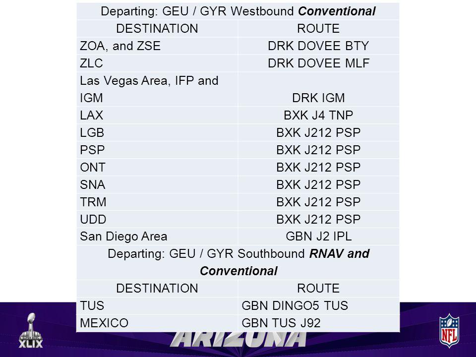 Departing: GEU / GYR Westbound Conventional DESTINATIONROUTE ZOA, and ZSEDRK DOVEE BTY ZLCDRK DOVEE MLF Las Vegas Area, IFP and IGMDRK IGM LAXBXK J4 T