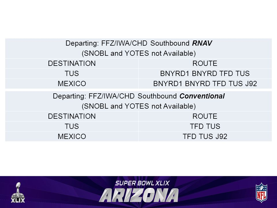 Departing: FFZ/IWA/CHD Southbound RNAV (SNOBL and YOTES not Available) DESTINATIONROUTE TUSBNYRD1 BNYRD TFD TUS MEXICOBNYRD1 BNYRD TFD TUS J92 Departing: FFZ/IWA/CHD Southbound Conventional (SNOBL and YOTES not Available) DESTINATIONROUTE TUSTFD TUS MEXICOTFD TUS J92