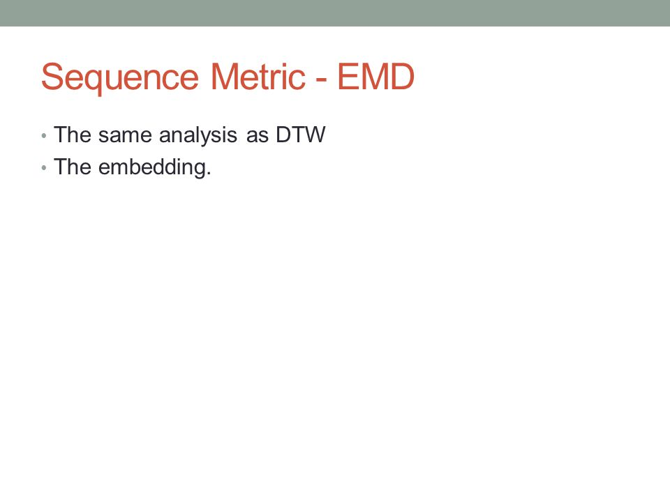 Sequence Metric - EMD The same analysis as DTW The embedding.