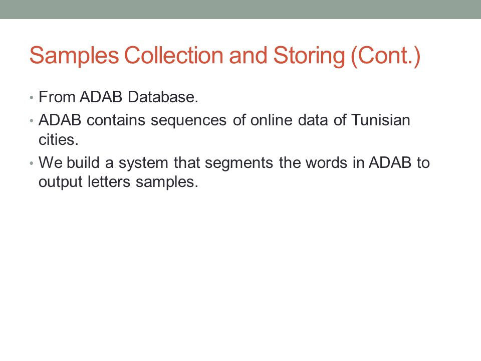 Samples Collection and Storing (Cont.) From ADAB Database.