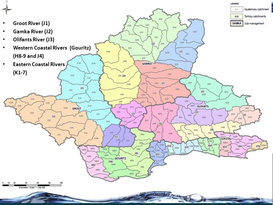 6 Groot River (J1) Gamka River (J2) Olifants River (J3) Western Coastal Rivers (Gouritz) (H8-9 and J4) Eastern Coastal Rivers (K1-7)