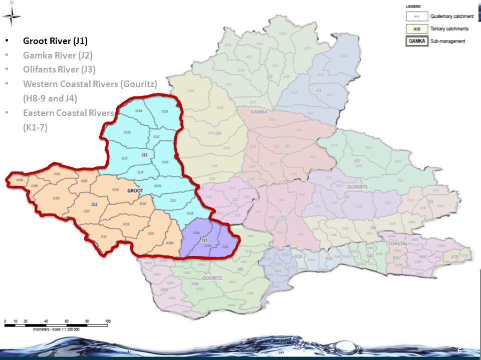 7 Groot River (J1) Gamka River (J2) Olifants River (J3) Western Coastal Rivers (H8-9 and J4) Eastern Coastal Rivers (K1-7)