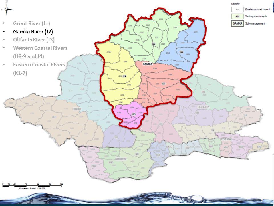 8 Groot River (J1) Gamka River (J2) Olifants River (J3) Western Coastal Rivers (Gouritz) (H8-9 and J4) Eastern Coastal Rivers (K1-7)