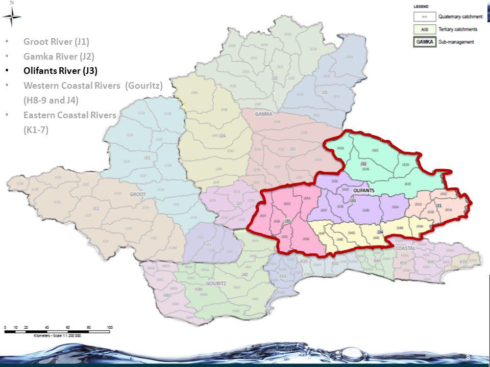 9 Groot River (J1) Gamka River (J2) Olifants River (J3) Western Coastal Rivers (Gouritz) (H8-9 and J4) Eastern Coastal Rivers (K1-7)