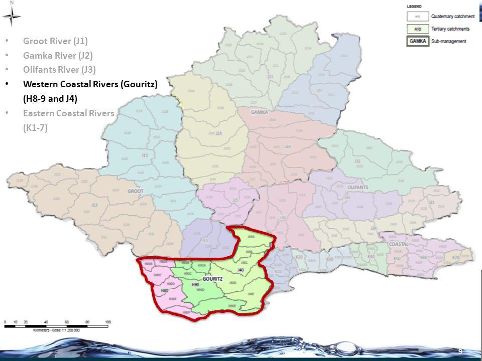 10 Groot River (J1) Gamka River (J2) Olifants River (J3) Western Coastal Rivers (H8-9 and J4) Eastern Coastal Rivers (K1-7)
