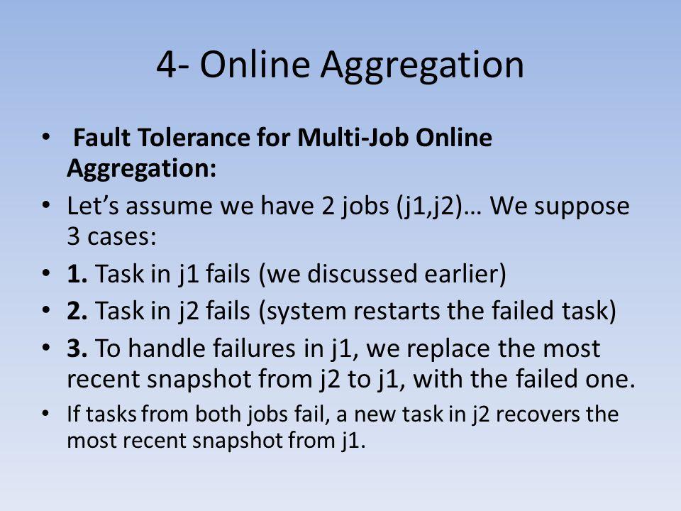 4- Online Aggregation Fault Tolerance for Multi-Job Online Aggregation: Let's assume we have 2 jobs (j1,j2)… We suppose 3 cases: 1. Task in j1 fails (
