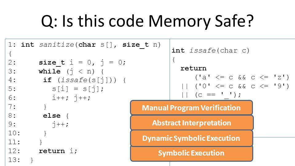 Manual Program Analysis 1: int sanitize(char s[], size_t n) { 2: size_t i = 0, j = 0; 3: while (j < n) { 4: if (issafe(s[j])) { 5: s[i] = s[j]; 6: i++; j++; 7: } 8: else { 9: j++; 10: } 11: } 12: return i; 13: } int issafe(char c) { return ( a <= c && c <= z ) || ( 0 <= c && c <= 9 ) || (c == _ ); } Requires: s != NULL && 0 <= n <= sizeof(s) s != NULL && 0 <= n <= sizeof(s) && 0 < i <= n && 0 < j <= n s != NULL && 0 <= n <= sizeof(s) && 0 <= i < n && 0 < j <= n s != NULL && 0 <= n <= sizeof(s) && 0 <= i <= n && 0 < j <= n assert(0 <= j < n); assert(0 <= i < n); s != NULL && 0 <= n <= sizeof(s) && 0 <= i < n && 0 <= j < n