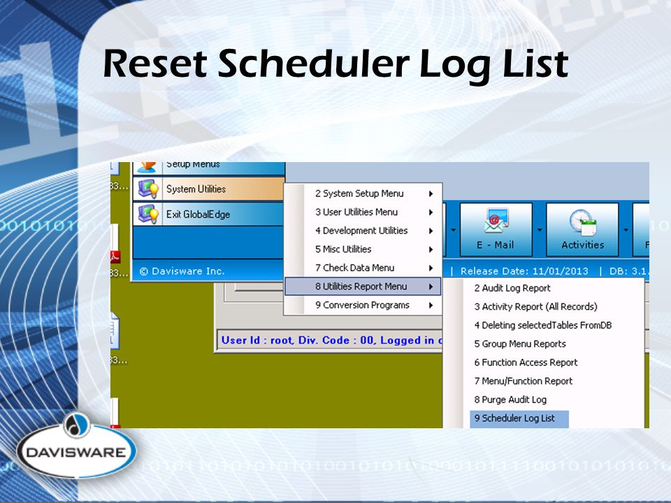 Reset Scheduler Log List