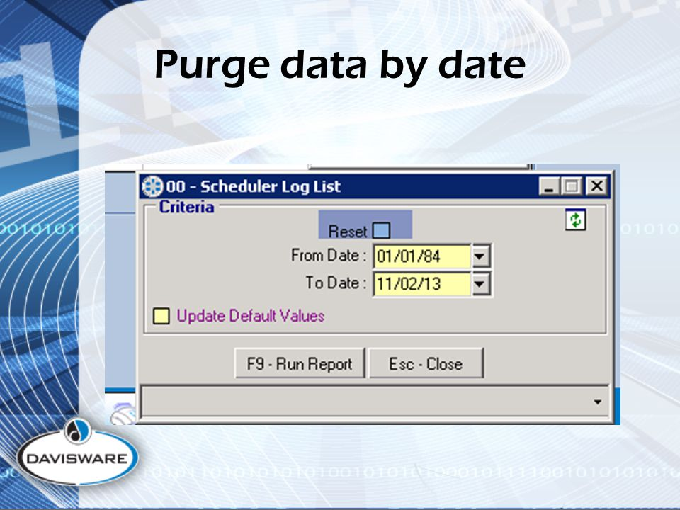 Purge data by date
