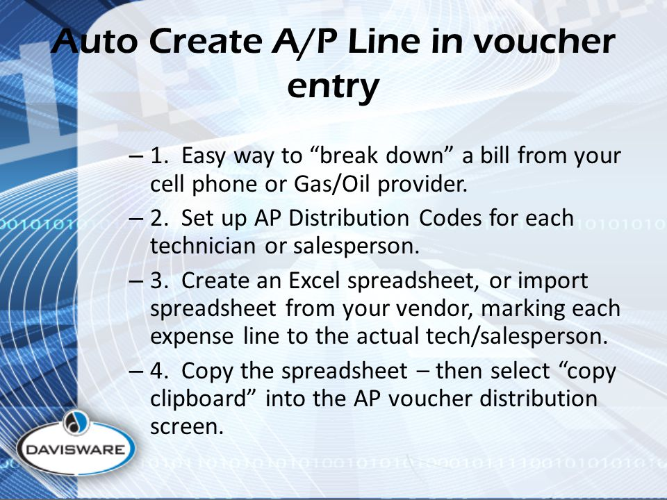 Auto Create A/P Line in voucher entry – 1.