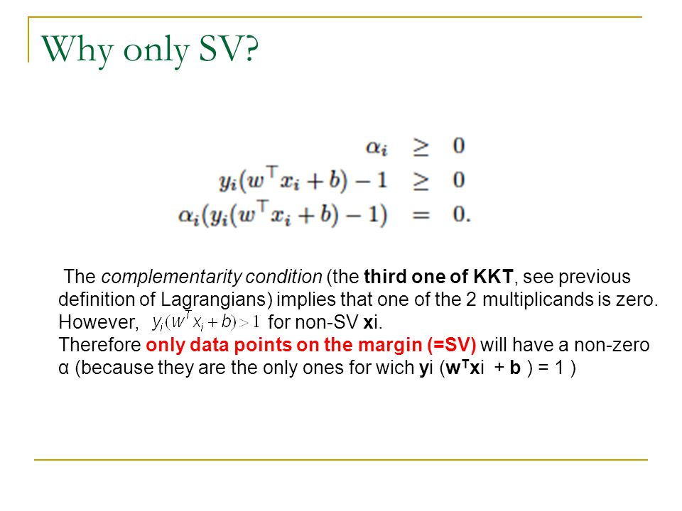 Why only SV? The complementarity condition (the third one of KKT, see previous definition of Lagrangians) implies that one of the 2 multiplicands is z