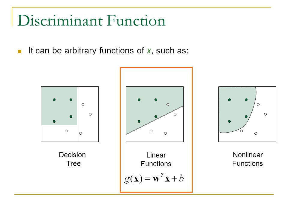 Discriminant Function It can be arbitrary functions of x, such as: Decision Tree Linear Functions Nonlinear Functions