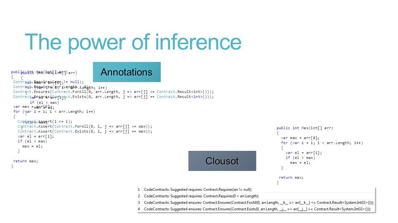 The power of inference public int Max(int[] arr) { var max = arr[0]; for (var i = 1; i < arr.Length; i++) { var el = arr[i]; if (el > max) max = el; } return max; } public int Max(int[] arr) { Contract.Requires(arr != null); Contract.Requires(arr.Length > 0); Contract.Ensures(Contract.ForAll(0, arr.Length, j => arr[j] ())); Contract.Ensures(Contract.Exists(0, arr.Length, j => arr[j] == Contract.Result ())); var max = arr[0]; for (var i = 1; i < arr.Length; i++) { Contract.Assert(1 <= i); Contract.Assert(Contract.ForAll(0, i, j => arr[j] <= max)); Contract.Assert(Contract.Exists(0, i, j => arr[j] == max)); var el = arr[i]; if (el > max) max = el; } return max; } public int Max(int[] arr) { var max = arr[0]; for (var i = 1; i < arr.Length; i++) { var el = arr[i]; if (el > max) max = el; } return max; }