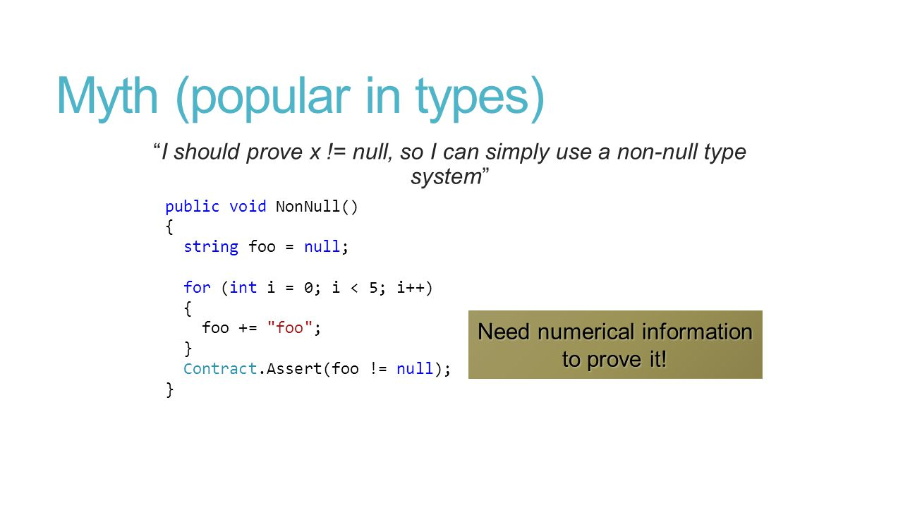 Myth (popular in types) I should prove x != null, so I can simply use a non-null type system public void NonNull() { string foo = null; for (int i = 0; i < 5; i++) { foo += foo ; } Contract.Assert(foo != null); }