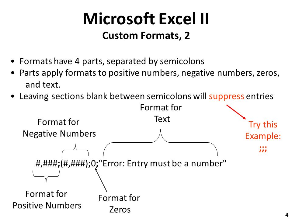 Microsoft Excel II Custom Formats, 2 #,###;(#,###);0; Error: Entry must be a number Format for Positive Numbers Format for Negative Numbers Format for Text Format for Zeros Formats have 4 parts, separated by semicolons Parts apply formats to positive numbers, negative numbers, zeros, and text.