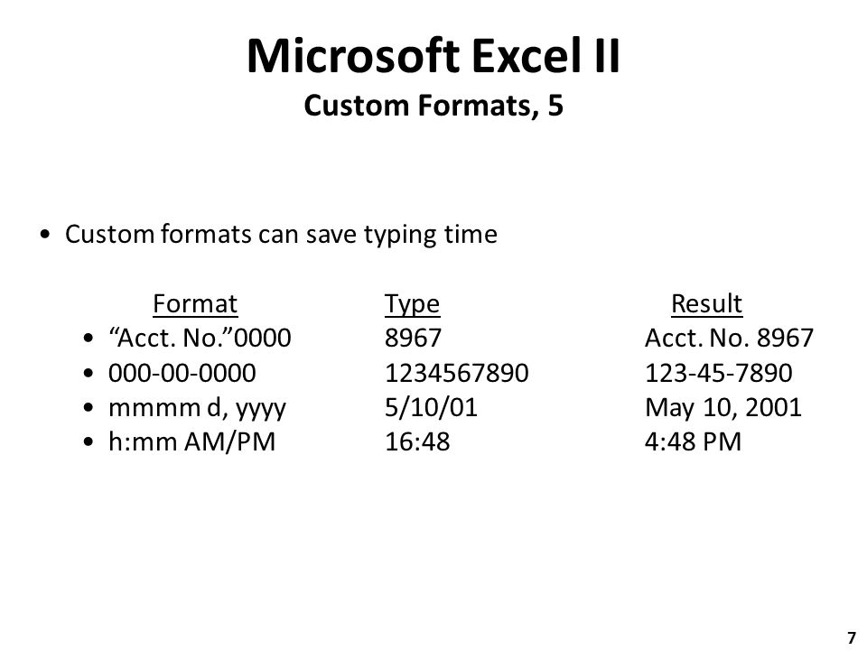 Microsoft Excel II Custom Formats, 5 Custom formats can save typing time FormatType Result Acct.