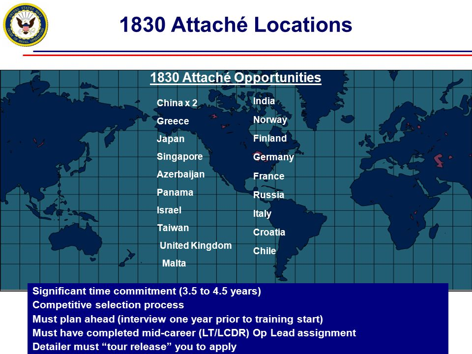 1830 Attaché Locations China x 2 Greece Japan Singapore Azerbaijan Panama Israel Taiwan United Kingdom Malta India Norway Finland Germany France Russi