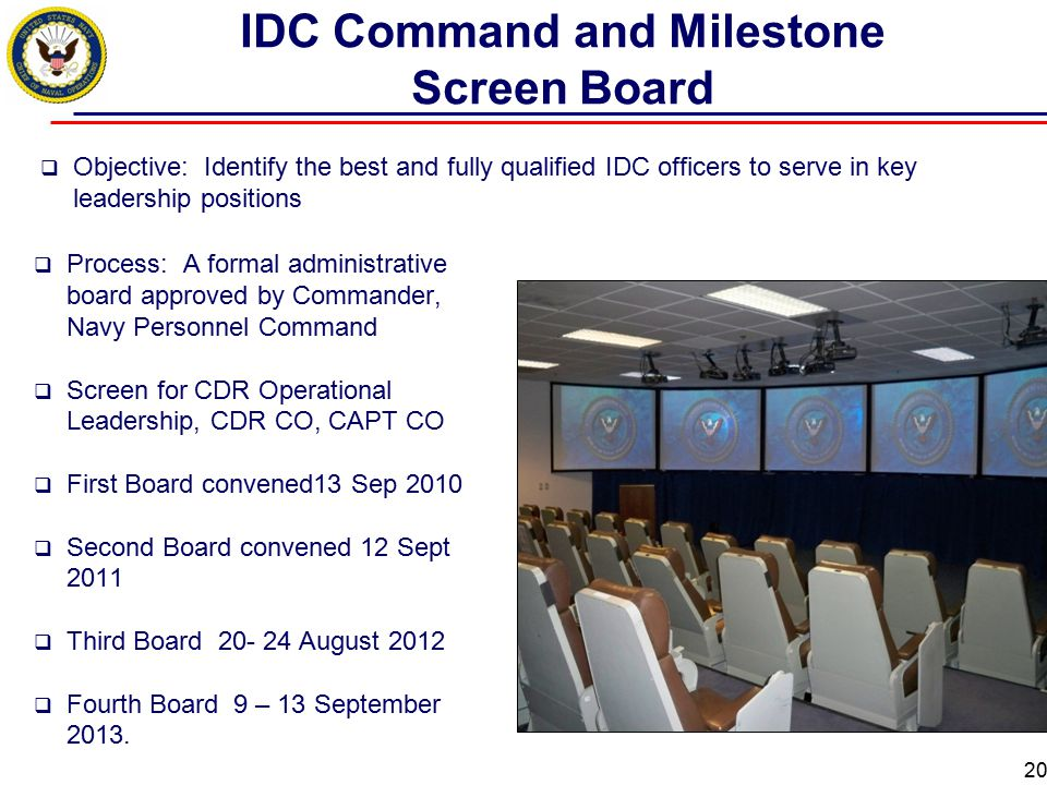 20 IDC Command and Milestone Screen Board  Objective: Identify the best and fully qualified IDC officers to serve in key leadership positions  Proce