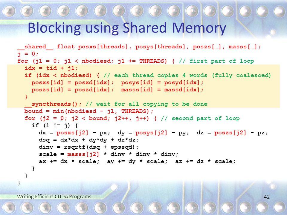Blocking using Shared Memory __shared__ float posxs[threads], posys[threads], poszs[…], masss[…]; j = 0; for (j1 = 0; j1 < nbodiesd; j1 += THREADS) {